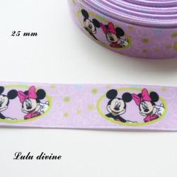 Ruban violet Mickey Minnie dans ovale vert de 25 mm
