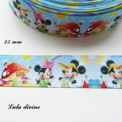 Ruban champignon Minnie & Mickey de 25 mm
