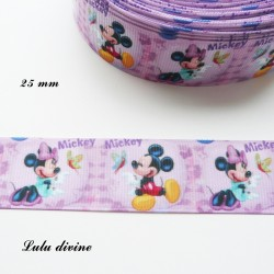 Ruban violet Mickey Minnie Papillon dans une bulle de 25 mm