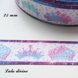 Ruban blanc liseré & Couronnes en dégradé rose bleu violet de 25 mm