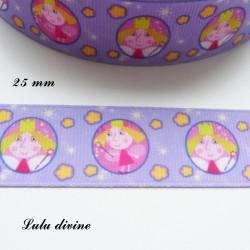 Ruban violet Petite Princesse en médaillon de 25 mm