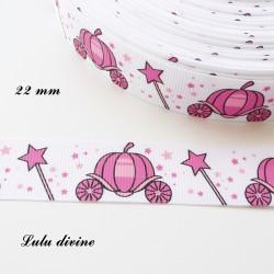 Ruban blanc petites étoiles rose Carosse & Château rose de 22 mm