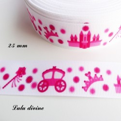Ruban blanc Chateau Carrosse Couronne fuchsia de 25 mm