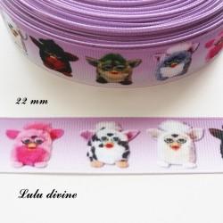 Ruban dégradé violet & blanc Furby de 22 mm