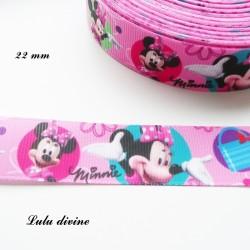 Ruban rose Minnie dans cercles vert rose turquoise de 22 mm