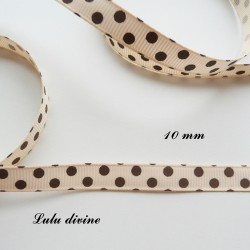Ruban Beige à pois marron de 10 mm
