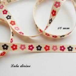 Ruban Beige à fleurs multicolore de 10 mm