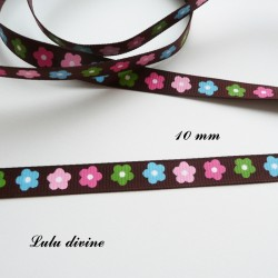 Ruban Marron à fleurs multicolore de 10 mm