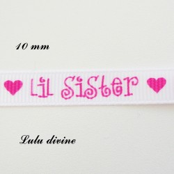 Ruban blanc Lil sister de 10 mm