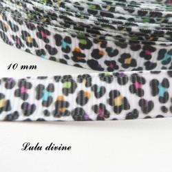 Ruban blanc Effet Léopard noir & multicolore de 10 mm