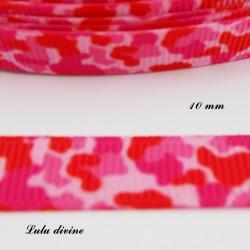 Ruban rose & rouge Effet Léopard de 10 mm