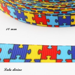 Ruban puzzle multicolore de 10 mm