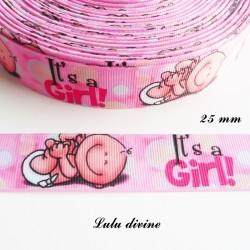 Ruban gros grain rose It's a girl (C'est une fille) Bébé de 25 mm