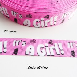 Ruban gros grain rose It's a girl (C'est une fille) de 22 mm