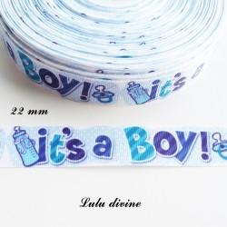 Ruban gros grain bleu It's a boy (C'est un garçon) de 22 mm