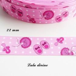 Ruban gros grain rose à pois blanc chausson bavoir tétine de 22 mm