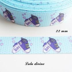 Ruban gros grain bleu à petit pois Boy (Garçon) chausson chaussure de 22 mm