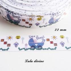 Ruban gros grain blanc It's a boy (C'est un garçon) landau bleu de 22 mm