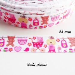 Ruban gros grain blanc rose landau bavoir biberon bébé de 22 mm