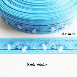 Ruban gros grain bleu tétine tutute sucette de 22 mm