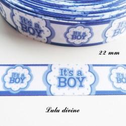 Ruban gros grain blanc liseré bleu It's a boy (C'est un garçon) de 22 mm