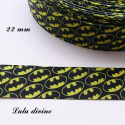 Ruban noir Super héros, mini Logo Batman de 22 mm