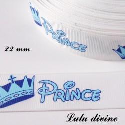 Ruban blanc écrit Prince & couronne bleu de 22 mm