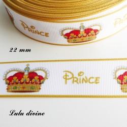 Ruban blanc écrit Prince en jaune & couronne royale de 22 mm