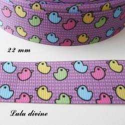 Ruban violet Motif enfantin Petit canard de 22 mm