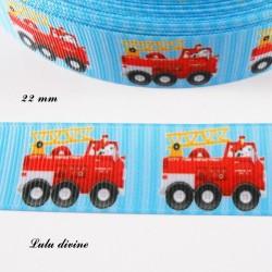 Ruban bleu rayé Camion de pompier de 22 mm
