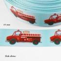 Ruban bleu clair Camion de pompier de 22 mm
