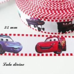 Ruban blanc Voitures Cars de 25 mm