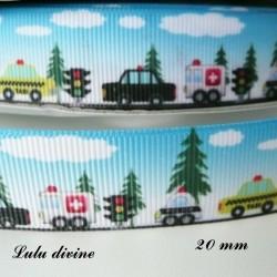 Ruban fond paysage Voiture Ambulance Police Taxi de 20 mm