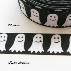 Ruban noir Fantôme blanc pac man de 22 mm