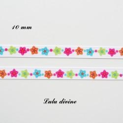 Ruban gros grain blanc Petite fleur multicolore de 10 mm