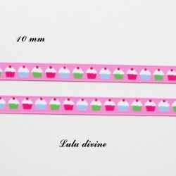 Ruban gros grain rose Petit gâteau Cupcake de 10 mm