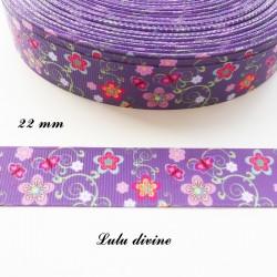 Ruban gros grain violet Arabesque verte Fleur & Papillon de 22 mm