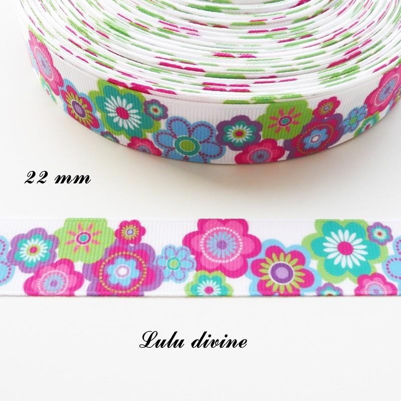 """Fleurs floral vert grosgrain ruban 1 /"""" 25mm"""
