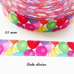 Ruban gros grain blanc Ballon multicolore de 22 mm