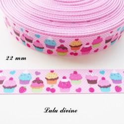 Ruban gros grain rose à pois blanc Gâteau Cupcake Cerise Fraise de 22 mm
