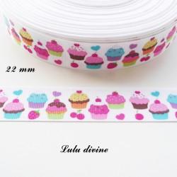 Ruban gros grain blanc Gâteau Cupcake Cerise Fraise de 22 mm