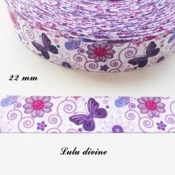 Ruban gros grain blanc Arabesque Fleur & Papillon violet de 22 mm