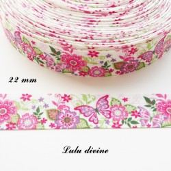 Ruban gros grain blanc Fleur Feuillage Papillon vert rose parme de 22 mm
