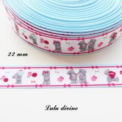 Ruban gros grain blanc liseré bleu & bande rose à nœud Ourson Teddy de 22 mm