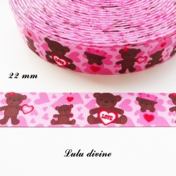 Ruban gros grain rose à cœur Ourson Teddy marron LOVE de 22 mm
