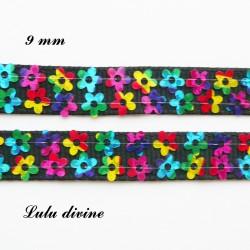 Ruban noir 2 lignes de fleur multicolore de 9 mm