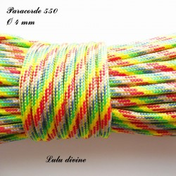 Paracorde 4 mm : Arc en ciel Jaune
