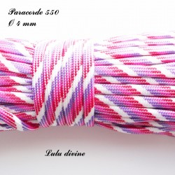 Paracorde 4 mm : Blanc Violet Rose Rouge