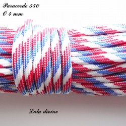 Paracorde 4 mm : Bleu Blanc Rouge