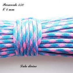 Paracorde 4 mm : Bleu Rose clair